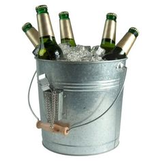 Atland Oasis Galvanized Beverage Pail with Opener - Silver (1.5 Gallon)