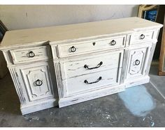 Items similar to Sold Distressed Credenza Buffet grey/beige shabby chic on Etsy White Washed Furniture, Distressed Furniture Painting, Painted Furniture, How To Distress Furniture, Distressed White Bedroom Furniture, Decopage Furniture, Refinished Furniture, Shabby Chic Furniture, Cool Furniture