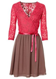 Vestido de malha, framboesa/marrom opaco