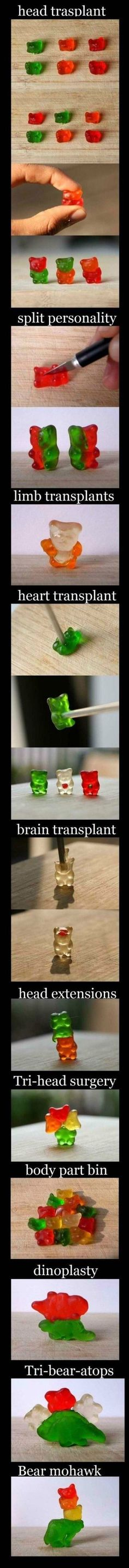 Things to do with gummy bears. lol this makes gummy bears ten times better! Funny Cute, The Funny, Hilarious, Funny Pins, Funny Memes, Funny Stuff, Random Stuff, Art Adventure Time, Looks Halloween