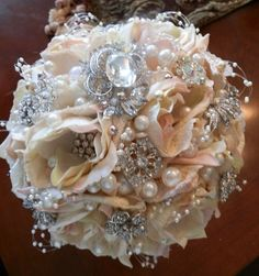 BIG 12x12 Stunning Bridal Brooch Jeweled Flower Bouquet in Ivory Blush Mix