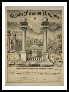 Buyenlarge 'Masonic Symbols Master Masons Diploma' by Bishop Graphic Art