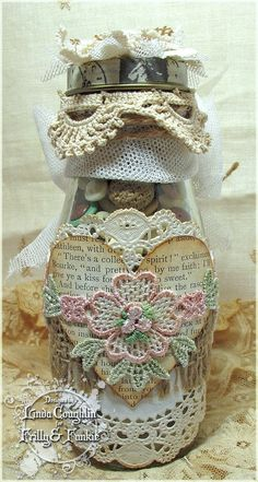 The Funkie Junkie: Sprucing It Up Altered Bottle with Heart Decor