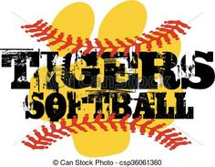 Vector - tigers softball - stock illustration, royalty free illustrations, stock clip art icon, stock clipart icons, logo, line art, EPS picture, pictures, graphic, graphics, drawing, drawings, vector image, artwork, EPS vector art