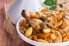 Tajine de poulet aux raisins et patates douces