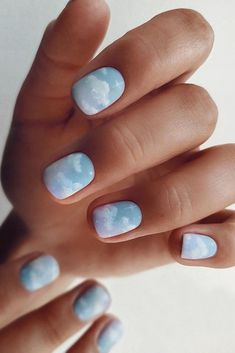Incredible Marble ocean water nails Designs to Upgrade Your Manicure Blue Acrylic Nails, Square Acrylic Nails, Summer Acrylic Nails, Marbled Nails, Summer Nails, Nail Art Blue, Blue Gel Nails, Light Blue Nails, Baby Blue Nails