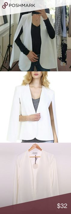 "White cape blazer Open front structured detail cape-blazer.  Model is 5' 7"" and wearing small. Shoulder seam to hem measures approximate 27 1/2"". in length  Size S- size 2~4 M- 4~6 L6~8  I priced my items as low as I can so please no offers. Price firm. Thanks for understanding. Jackets & Coats Capes"