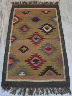 "Turkish Wool Jute Kilim Vintage Area Carpet,Anatolian Kilim,Rugs 30""x48"" Inch  #Turkish"