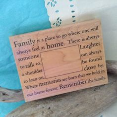 Family Frame - picture frame stamp - Rubber Stampede - new - Holiday Happiness - Thanksgiving stamp - Remember Family - bargain wood stamp by TheWhatNaught on Etsy