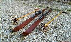 Beautiful wooden skis Retro skis Complete Set Vintage by TotoStyle