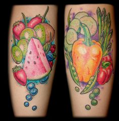 We all have our favorite foods but are you dedicated enough to put your love in INK? Check out these mouthwatering food tattoos. Food Tattoos, All Tattoos, Body Art Tattoos, Sleeve Tattoos, Tattoos For Women, Tatoos, Essen Tattoos, Vegetable Tattoo, Fruit Tattoo