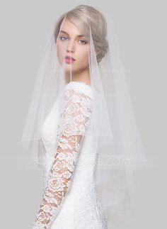 Two-tier Beaded Edge Fingertip Bridal Veils With Beading (006076541) - Wedding Veils - JJsHouse