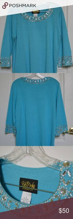 Vintage 1980s Bob Mackie wearable art blouse Unique vintage Bob Mackie cerulean-blue sweater/blouse. 100% cotton. Long sleeves, but overall lightweight sweater. Features beading around rounded neckline and sleeve trim. Has slits on the sides. Size small, but is oversized- could be worn over leggings, a skirt with belt, jeans, etc. Bob Mackie Tops Blouses