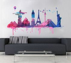 World Travel Watercolor decal for housewares - L size   wallartdecals - Furnishings on ArtFire