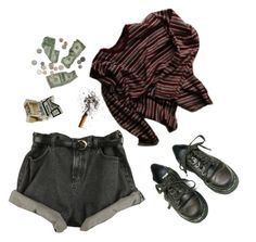 """Crumpled."" by hunkulez ❤ liked on Polyvore featuring Dr. Martens, money, stripes, Boots, highwaisted and cigarettes"