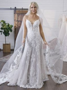 Maggie Sottero Tuscany Lane, lace A-line wedding dress featuring gorgeous lace motifs, Complete with a beaded lace bodice Plus Wedding Dresses, Maggie Sottero Wedding Dresses, Stunning Wedding Dresses, Boho Wedding Dress, Designer Wedding Dresses, Bridal Dresses, Wedding Gowns, Lace Wedding, Bridal Gown