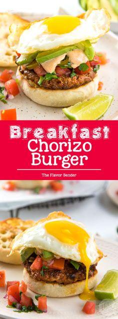 Breakfast Chorizo Burgers - Perfect hearty breakfast, or brunch with spicy chorizo burgers, pico de gallo and a fried egg! #Breakfast #Brunch #TexMexBreakfast #Burgers via @theflavorbender
