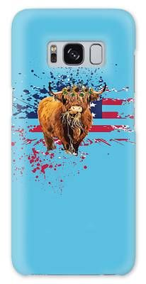 Galaxy Case featuring the digital art Highland Cows American Flag by Camille Press Phone Background Wallpaper, Phone Backgrounds, Iphone Wallpaper, Cows, American Flag, Digital Art, Iphone Cases, Valentines, Holiday