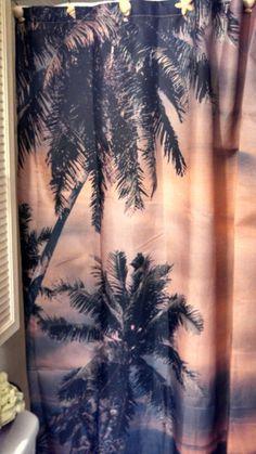 Palm Tree Shower Curtain Pineapple Palm Tree, Beach Shower Curtains, Palm Trees, Sunset, Bathroom, Prints, Home Decor, Palm Plants, Sunsets