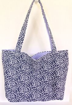 Navy Blue and Purple Market Tote Handmade Market Bag Navy Floral Print Farmers Market  Beach Tote Reversible Teacher Bag by AmyReneeNicosia on Etsy