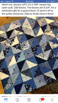 Log Cabin Quilts, Log Cabins, Pineapple Quilt, Quilt As You Go, Blue  Blanket, White Quilts, Quilting Projects, Quilting Designs, Square Quilt,  Viajes, ... 62a9cc6c6b91