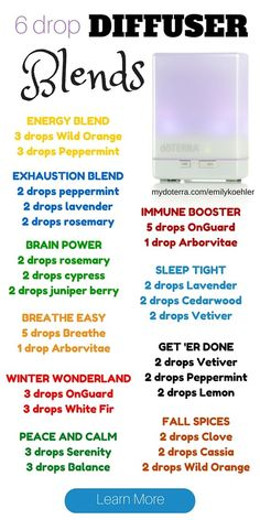 DoTERRA diffuser blend recipes for every occasion. You are sure to love these es. DoTERRA d. Essential Oil Diffuser Blends, Doterra Essential Oils, Doterra Diffuser, Doterra Blends, Essential Oils Energy, Essential Oil Spray, Young Living Oils, Aromatherapy Oils, Aromatherapy Humidifier