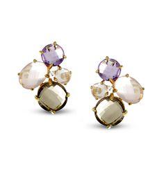 Boucles d'oreilles or jaune 375/00 diamant et pierres fines