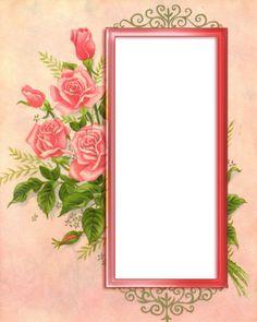Rose card element by jinifur on DeviantArt Rose Frame, Flower Frame, Vintage Tags, Vintage Paper, Vintage Roses, Printable Frames, Vintage Photo Frames, Button Cards, Borders And Frames