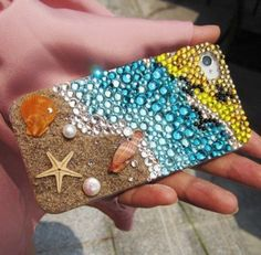 Another fun and cute idea for the iPhone. You can buy clear plastic cases on amazon for only $0.50! Then you can get little nick nacks at Michael's craft store to decorate your own case!