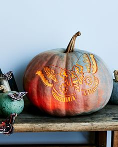 Like its inspiration, this glowing-moth etched pumpkin is drawn the light. Head to our bio link to find the full carving tutorial. Whimsical Halloween, Fairy Halloween Costumes, Halloween Crafts, Halloween Decorations, Halloween Ideas, Pumpkin Uses, Pumpkin Art, Best Pumpkin, Pumpkin Carvings