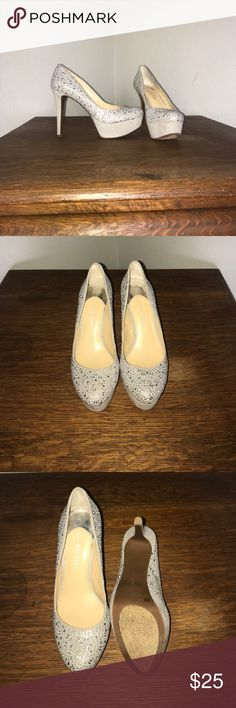 Gianni Bini 5in. Pumps Size women's 7.5, light taupe/gray with silver rivets. Only worn once! In great condition! Great for dances, parties or weddings! No box included. Gianni Bini Shoes Heels