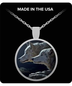 This Wolf Necklace shows two absolutely Gorgeous Wolves.  These Wolves are very focused on something, maybe a predator; maybe pray; you be the judge.  **UV Resistant  Waterproof  **22 inch necklace that fits great on anyone.  **Silver plated pendant with a custom hardened resin insert to show the highest quality color vibrance in your necklace possible.  *You would be hard pressed to find a more beautiful Wolf Necklace Pendant than this.  Pick one up today, you will be proud to show it off