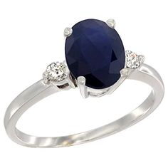 10K White Gold Natural Blue Sapphire Ring Oval 9x7 mm Diamond Accent size 7 >>> Click on the image for additional details.