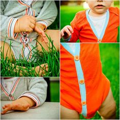 Baby Cardigan Onesie Tutorial.  Pair with a homemade bowtie, and you have an adorable outfit for your little man!