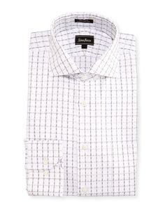 Neiman Marcus Classic-Fit Regular-Finish Check Dress Shirt, White/Gray, Men's, Size: 17 32/33, White/Grey