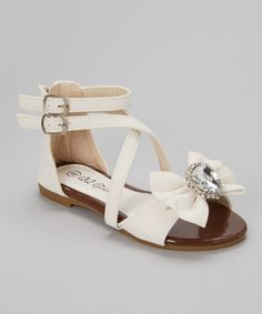 Take a look at the QQ Girl White Crisscross Julia Sandal on #zulily today!