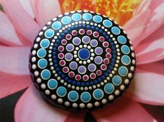 "Mandala Stone Hand Painted River Rock ~ Energy ~ Meditation ""LADY"" Upper Chakras ~ Purple Blue White ~ Dot Painting by WrenStones on Etsy"