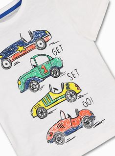 White Car T-Shirt months - 6 years) from Tu at Sainsbury's ! Toddler Boy Outfits, Kids Outfits, T Shirt Photo Printing, T Shorts, Kids Shorts, Slogan Tshirt, Kids Prints, Summer Shirts, Boys T Shirts