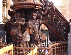 Diest, Vlaams-Brabant, St.-Sulpitiuskerk, pulpit, cuppa, detail