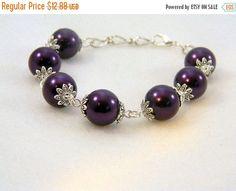 SALE Bracelet, Purple Pearls, Purple Bracelet, Purple Pearl Bracelet, Beaded Bracelet