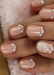 Peach Nails With Diamantes And Lace Bridal Nail Art Ring Finger Technician