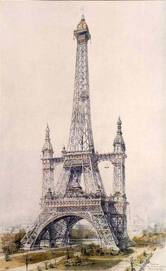 France, Paris - Gustave Eiffel's co-designer, Stephen Sauvestre. His take, Edwardian in design for giving the tower a 'facelift' Architecture Drawings, Architecture Old, Historical Architecture, Paris Torre Eiffel, Paris Eiffel Tower, Image Tour Eiffel, Tour Effel, Hotel Des Invalides, Gustave Eiffel