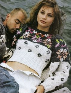 """fuzzy-findings: """" US ELLE August 1994. Nikki Taylor by Gilles Bensimon """"Summer Sweaters"""" """""""