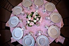 Overhead shot of a pink and silver table display