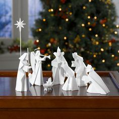 PORCELAIN ORIGAMI NATIVITY - and other sets:  olivewood / metal / glass / fabric . . .