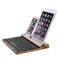 SEENDA Universal Bamboo Wireless Bluetooth Keyboard With Mobile/Table Stand Holder Tablet Stand, Ipad Stand, Ipad Accessories, Computer Accessories, Mobile Table, Bad Room Ideas, Cell Phones For Sale, Windows System, Bluetooth Keyboard