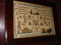 AN EXCEPTIONAL SOUTH EAST PA. HAND MADE FOLK ART SAMPLER, OUTSTANDING,GORGEOUS DATED 1833,EXCELLENT ORIGINAL COND. ELIZABETH PREBBLE.   Sold   Ebay   923.00     ~♥~