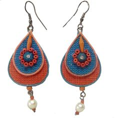 Handicraft ProductNew DesignStylish - Betel ShapedJute Work - Orange BlueStone Work