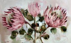 In my studio.... Proteas 91x 252cm  Nicole Pletts  Nicoleplettsfineart.com Art Flowers, Flower Art, Protea Art, Still Life Flowers, Acrylic Paintings, Painting Inspiration, Studio, Abstract, Floral