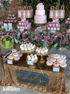 Candy Bar Wedding, Wedding Desserts, Our Wedding, Trendy Wedding, Wedding Pastel, Wedding Cake, Donut Decorations, Wedding Decorations, Gold Candy Buffet